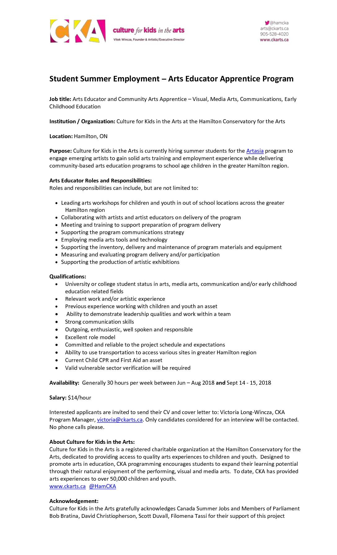 Arts Educator and Community Arts Apprentice – Visual, Media Arts, Communications, Early Childhood Education